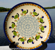 """Polish Pottery Stoneware 10"""" Dinner Plate - Ducks in A Row"""