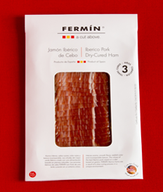 Fermin Iberico Ham Sliced, 2 oz (56 g)  • By Fermin • La Alberca, Salamanca Spain • Sliced • 36 months curing process • World SOFI Award Winner