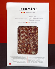 Iberico Salchichon sliced 2 oz (56 g) by Fermin  •100% Iberico •Traditional Spanish sausage •Dry cured with  •salt, black & white pepper and nutmeg •By Fermin •La Alberca, Salamanca Spain •Sliced hand trimmed •Marinated with salt Pimenton and garlic • 2oz (56 g)