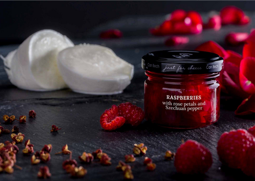 •	Raspberries with rose petals and Szechuan pepper •	Just for Cheese •	For pairing with fresh and soft cheeses •	Produced in Barcelona, Spain •	2.57 oz  73 g  Raspberries with rose petals and Szechuan pepper for pairing with fresh and soft cheeses.