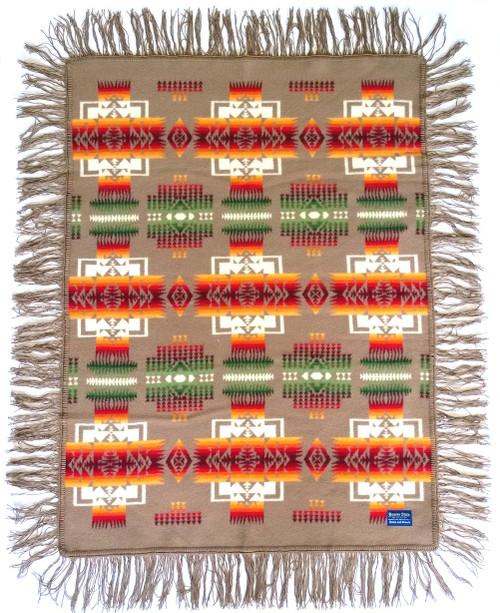 Pendleton Chief Joseph Muchacha Fringed Shawl - Khaki