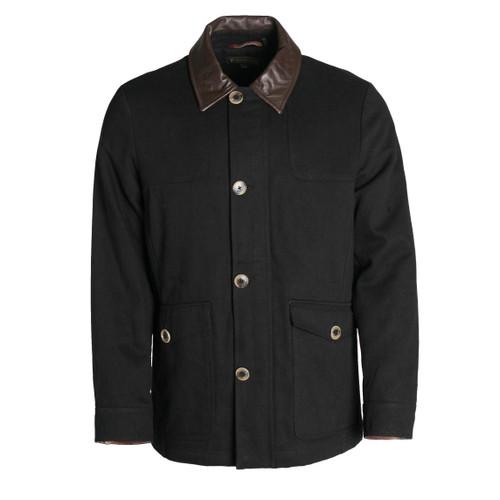 Pedleton Graham Black Cotton Jacket With Leather Collar