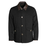 Pedleton Graham Black Cotton Jacket With Leather Collar
