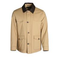 Pendleton Graham Camel Cotton Jacket With Leather Collar