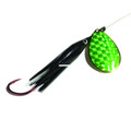 Wicked Lures KK BLACK-GREEN 6 - Snelled Spinner, #6 Blade - KK BLACK-GREEN 6