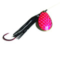 Wicked Lures KK BLACK-PINK 6 - Snelled Spinner, #6 Blade - KK BLACK-PINK 6