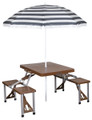 Stansport 615-45 Picnic Table And - Umbrell Combo, Brown Woodgrain - 615-45