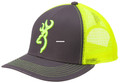Browning 308177541 Cap Flashback - Charcoal/Neon Green Adjustable Snap - 308177541