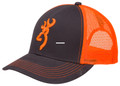 Browning 308177621 Cap Flashback - Charcoal/Neon Orange Adjustable Snap - 308177621