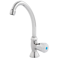 Pillar tap, pivoting, cold, DN 15 with plastic handle, chrome-plated brass