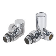 Chrome Angled Radiator Valve & LOCKSHIELD 15MM 2 PCS