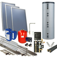 OEG Solar package 2plus flat-roof 300 l solar tank 3 collectors: 6.18 m²
