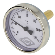 Bimetal dial thermometer 0-120°C 40 mm sensor with 63 mm case