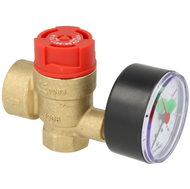 "Safety valve for heating, ½"", 3 bar with manometer"