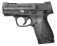 S&W M&P Shield Ported 9mm 3.1 Inch Ported Barrel Black Melonite Finish Black Ported Slide Polymer Frame Hi-Viz Sights 7/8 Round Magazines