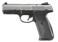 RUG SR9 9mm Luger 4.14 Inch Barrel Matte Stainless Steel Slide Black Frame Adjustable Sights 17 Round