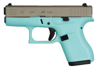 GLK Glock 42 Gen 3 Subcompact .380 ACP 3.25 Inch Barrel Eggshell Blue With Stainless Steel Slide 6 Round