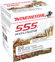Winchester Ammo 22LR555HP 555 22 Long Rifle 36 GR Copper-Plated Hollow Point 555 Bx/ 10 Cs*
