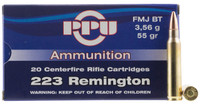 PPU PP59 Standard Rifle 223 Remington/5.56 NATO 55 GR Full Metal Jacket Boat Tail 1,000 rounds total (20 rounds per box/ 50 boxes per Case)