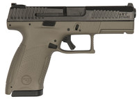 CZ 91521 P-10 Single/Double 9mm 4 12+1 Flat Dark Earth  Interchangeable Backstrap Grip Black Nitride