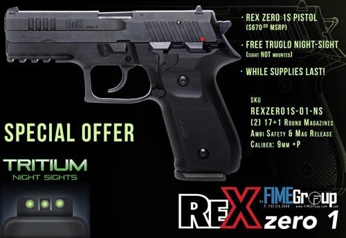 arex rex zero 1s 9mm pistol fs 2-17rd truglo package 5984