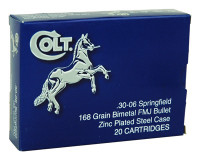 COLT AMMO .30-06 SPRINGFIELD 168GR. FMJ ZINC PLATED 20-PACK
