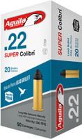 AGUILA AMMO 22LR SUPER COLIBRI 590FPS. 20GR. LEAD RN 50-PACK