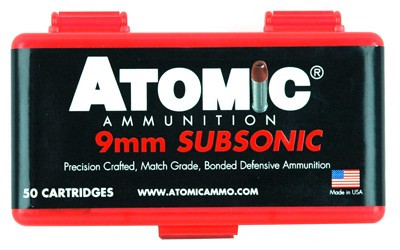 atomic ammo 9mm luger subsonic 147gr  bonded jhp 50-pack
