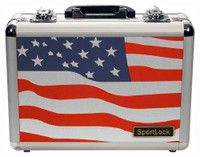 SPORTLOCK ALUMALOCK CASE DOUBLE HANDGUN USA FLAG SCENE