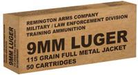 Remington Ammunition brass B9MM3 Overrun 9mm Luger 115 GR Full Metal Jacket 50 Bx/ 10 Cs*