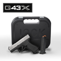 "Glock PX435SL201 G43X Subcompact 9mm Luger Double 3.41"" Fixed 10+1 Black Polymer Grip/Frame Silver PVD Slide"