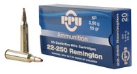 PPU PP22250 Standard Rifle 22-250 Remington 55 GR Soft Point 20 Bx/ 10 Cs*