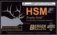 HSM BER65REM140V Trophy Gold  6.5mm Rem Mag 140 GR Match Very Low Drag 20 Bx/ 20 Cs*