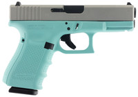 Glock PG1950203RES G19 Gen 4 Double 9mm Luger 4.01 15+1 Robin Egg Blue Interchangeable Backstrap Grip Silver Aluminum Alloy*