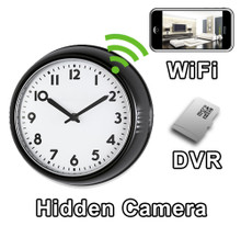 WiFi Black Frame Office Style Wall Clock Hidden Camera Spy Camera Nanny Cam
