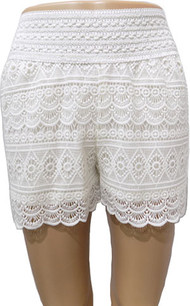 SH03 White Crochet Shorts