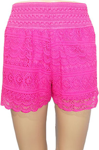 SH03 Fuschia Crochet Shorts