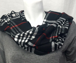Black/White Plaid Cashmere-Feel Scarf