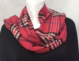 Red Plaid Cashmere-Feel Scarf