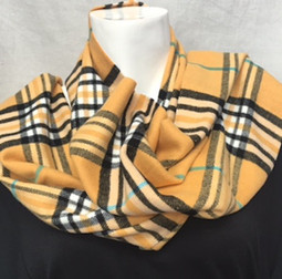 Yellow Plaid Cashmere-Feel Scarf