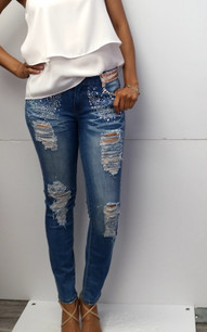 2219 Stone Embellished Jeans