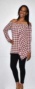 3209 Red Houndstooth Top