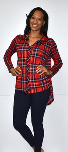 Red/Blue Plaid Swing Back Top