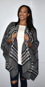 Grey/Black Plaid Wrap