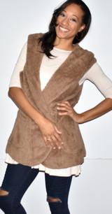 90043 Brown Fuzzy Hoodie Vest w/ Pockets