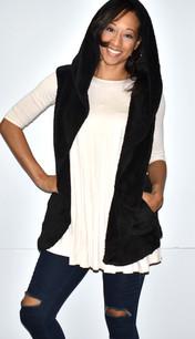 90043 Black Fuzzy Hoodie Vest w/ Pockets