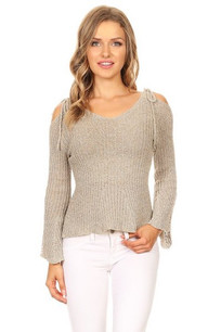 608-434209 Beige Rib Knitted Bell Sleeved Top w/ open back