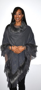 5146 Grey Fur Trimmed Poncho