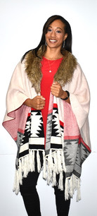 White/Light Pink Aztec Print Fur Trimmed Wrap