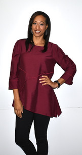 1420 Burgundy Inverted Seam Diagonal Cut Top